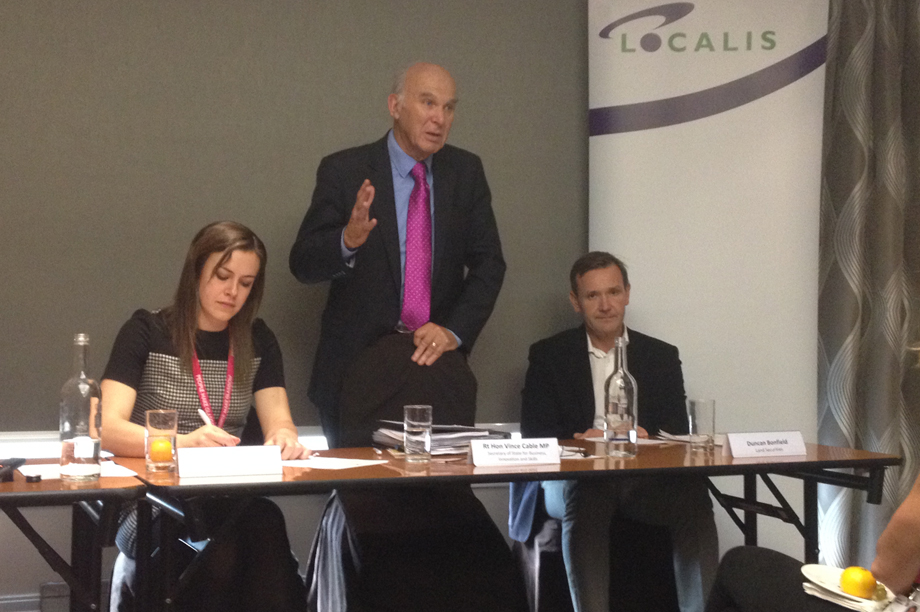 Business secretary Vince Cable speaking at the Localis fringe event