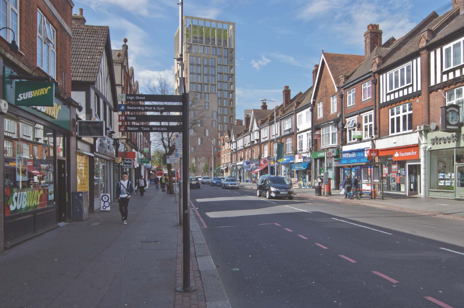 A visualisation of the proposals for the 17-storey tower in Purley