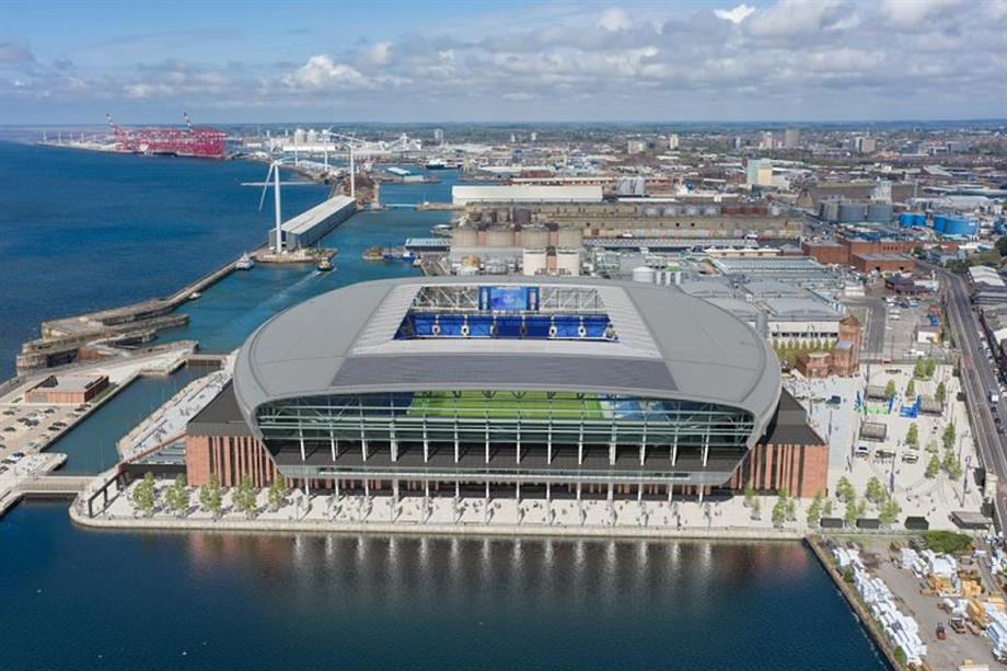 A visualisation of Everton FC's new Bramley-Moore Dock stadium, the biggest retail & leisure permission granted in this period (Liverpool City Council)