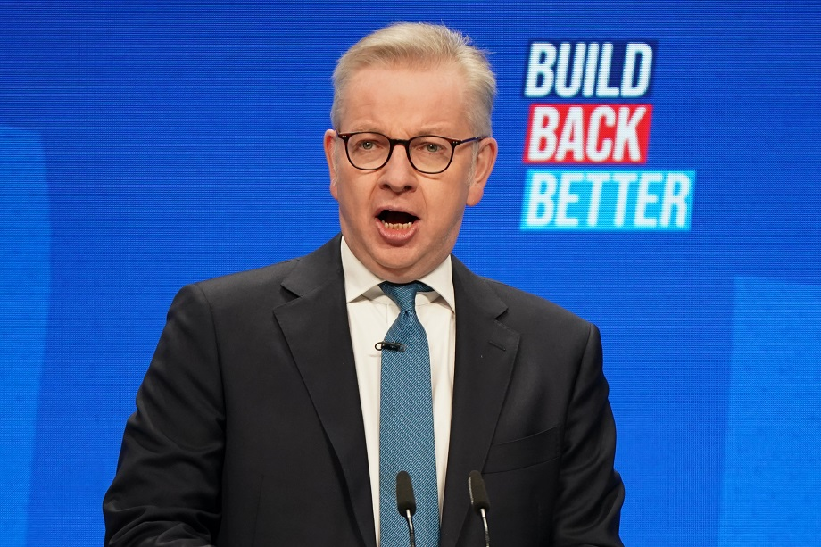 Michael Gove, Secretary of State for Levelling Up, Housing and Communities delivers his keynote speech during the Conservative Party Conference at Manchester Central Convention Complex yesterday. Pic: Ian Forsyth/Getty Images