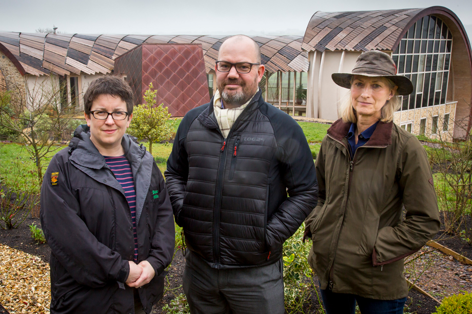 Close working: Blackdown Hills AONB's planning officer Lisa Turner, East Devon Council's senior planning officer Charlie McCullough and homeowner and applicant Elizabeth Tetlow.