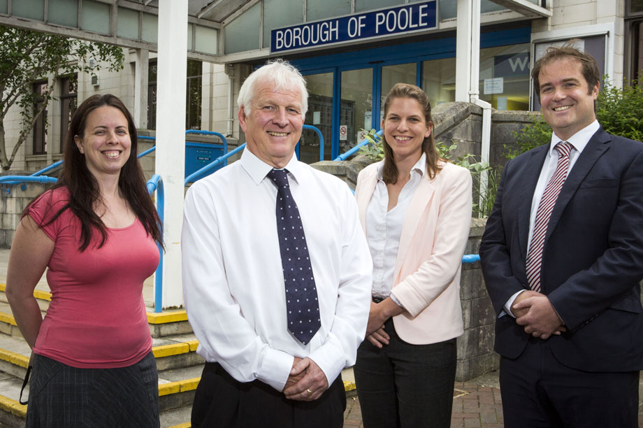 Policy-makers: (left to right) Poole Borough Council's planning officer Laura Archer, senior planning officer Bill Gordon, senior planning officer Laura Bright and planning policy and implementation manager Nicholas Perrins
