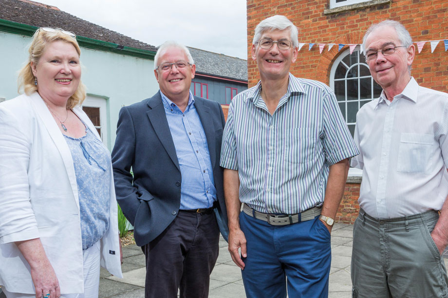Neighbourhood plan-makers (left to right): Newport Pagnell Town Council clerk Shar Roselman with planning committee chair Phil Winsor and residents Alan Mills and Ian Carman