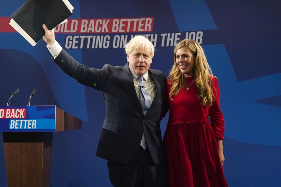 Boris and Carrie Johnson following his speech at the Conservative party conference. Pic: Getty Images