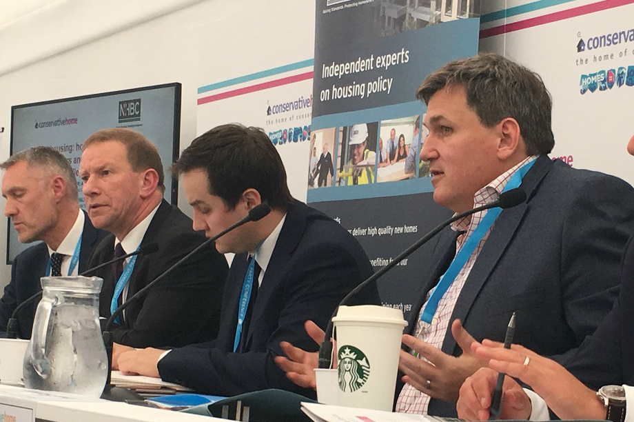 Housing minister Kit Malthouse (right) speaking at the ConservativeHome conference fringe event