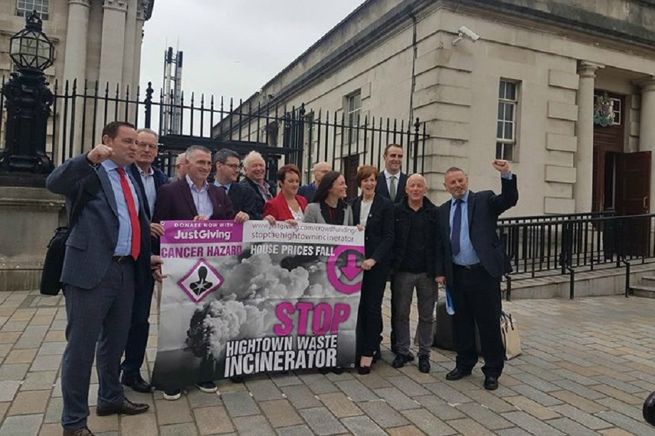 Victory: campaigners against the waste facility outside the High Court in Belfast. Pic: Noarc21