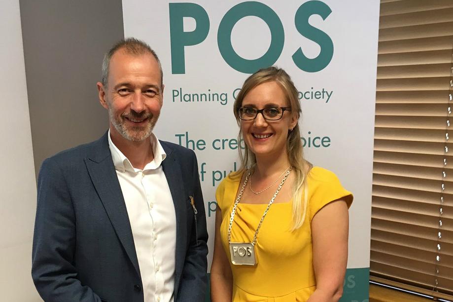 New POS president Sarah Platts (right) with her predecessor Paul Seddon