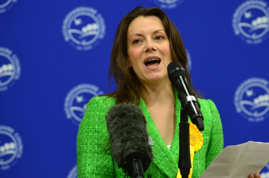 The LibDem candidate Sarah Green giving a victory speech last might - image: Getty