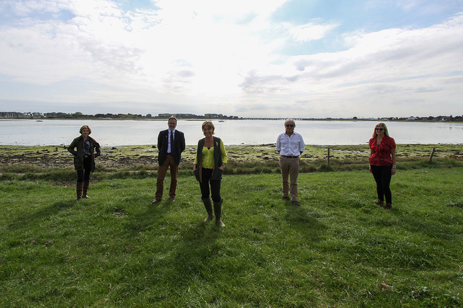 DEFRA minister Rebecca Pow MP (centre) at the launch of the Warblington Farm nature reserve
