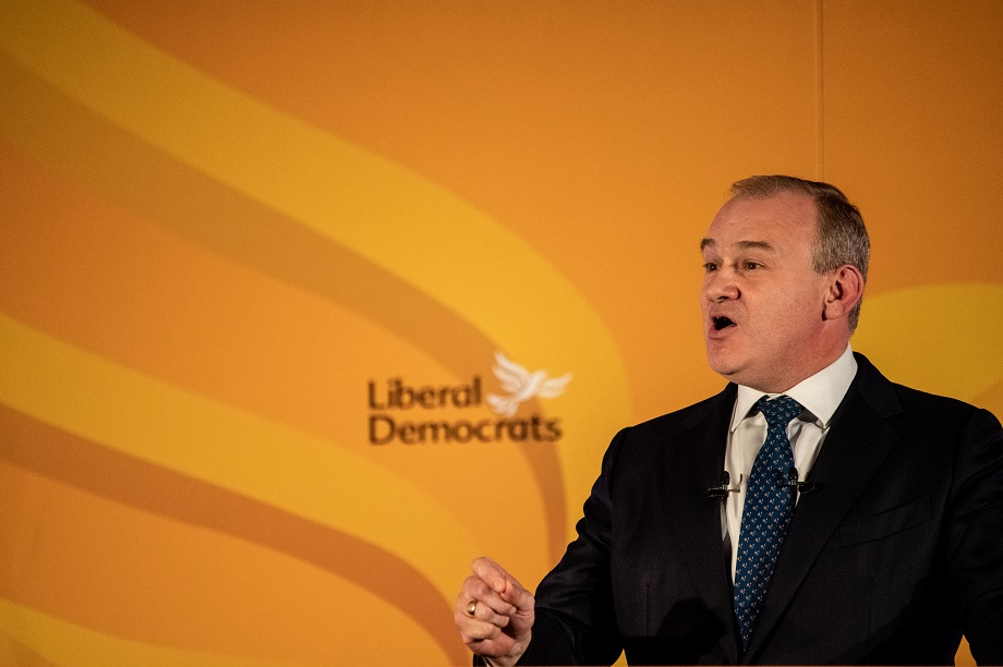 Lib Dem leader Ed Davey speaking at the party's virtual conference on Sunday. Pic: Getty Images