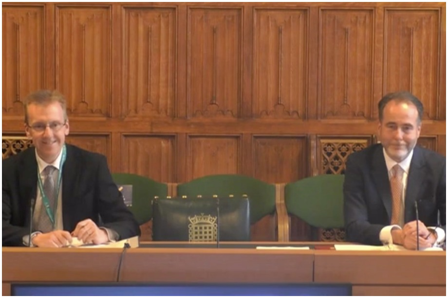 Simon Gallagher (left) and Christopher Pincher speaking at the committee inquiry (Pic: parliamentlive.tv)