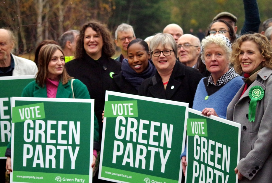Activists at the launch of the Green Party 2019 general election manifesto. Image by John Blower, Flickr