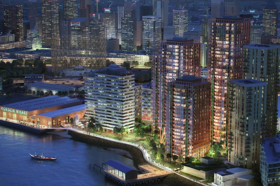 The proposed Modern Wharf development, with 13 buildings up to 36 storeys (Pic: U+I Group)